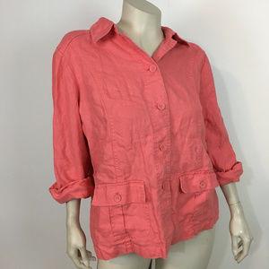 Charter Club 100% linen jacket blazer peach 2X